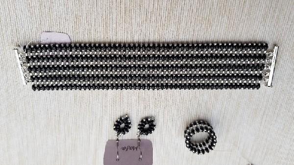 Komplet czarno srebrny