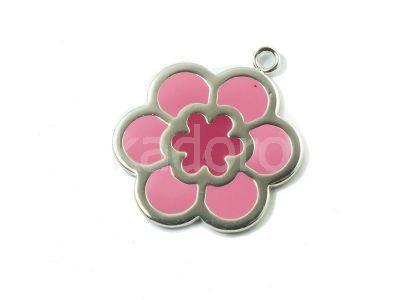 Zawieszka posrebrzana kwiatek różowy 25 mm