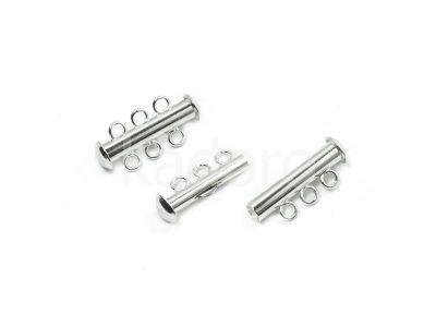 Zapięcie slide posrebrzane z 3 loopami - 1 sztuka