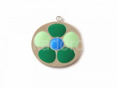 Zawieszka posrebrzana kwiatek zielono-niebieski 22 mm - 1 sztuka