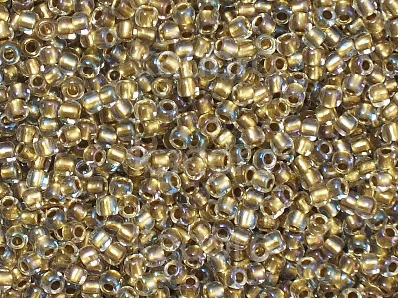 TOHO Round 11o-262 Inside-Color Crystal - Gold Lined - 10 g