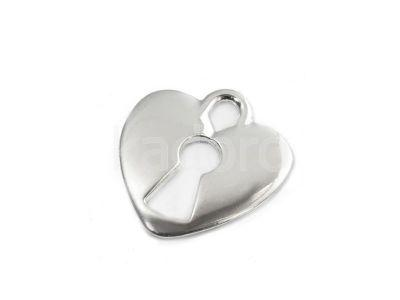 Zawieszka posrebrzana serce z dziurką 18.5x17.5 mm - 1 sztuka