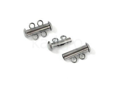 Zapięcie slide gunmetal z 2 loopami - 1 sztuka