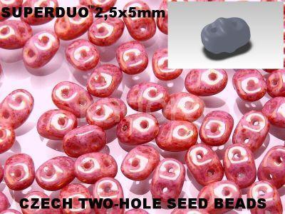 SuperDuo 2.5x5mm Luster - Metallic Pink - 10 g