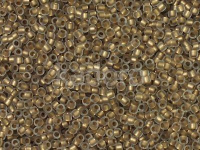 TOHO Round 15o-989F Frosted Gold-Lined Crystal - 5 g
