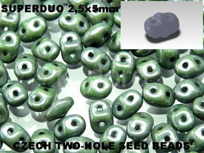 SuperDuo 2.5x5mm Luster - Metallic Green - 10 g