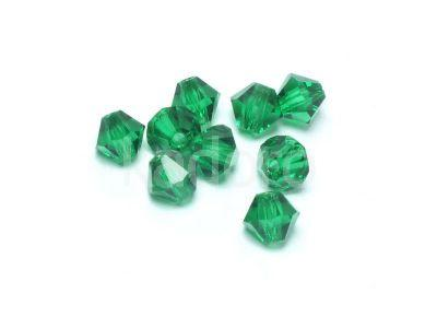 Bicone 4mm Green Emerald - 6 sztuk