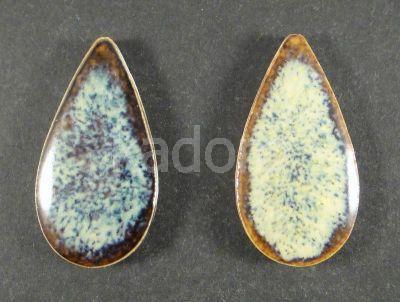 Kaboszon ceramiczny łezka niebiesko-beżowa 36x19 mm - 1 sztuka