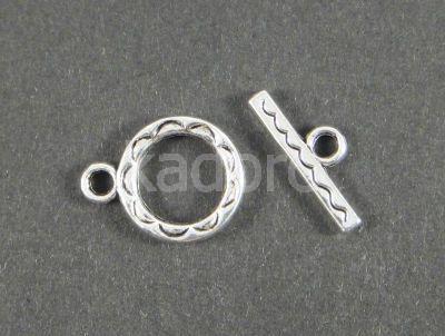 Zapięcie toggle kółko 12 mm kolor srebrny - 2 komplety