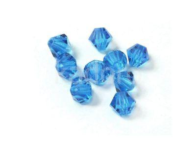 Bicone 6mm Dark Aquamarine - 4 sztuki