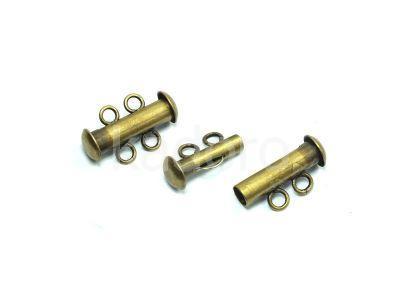 Zapięcie slide mosiężne z 2 loopami - 1 sztuka