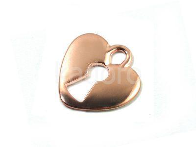 Zawieszka pozłacana różowe serce z dziurką 18.5x17.5 mm - 1 sztuka