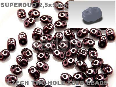 SuperDuo 2.5x5mm Luster - Metallic Dk Amethyst - 10 g