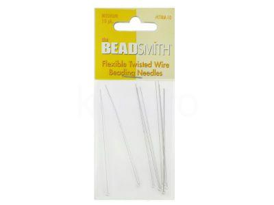 Igły Beadsmith Flexible Twisted Wire 6.4 cm Medium - 1 karnet