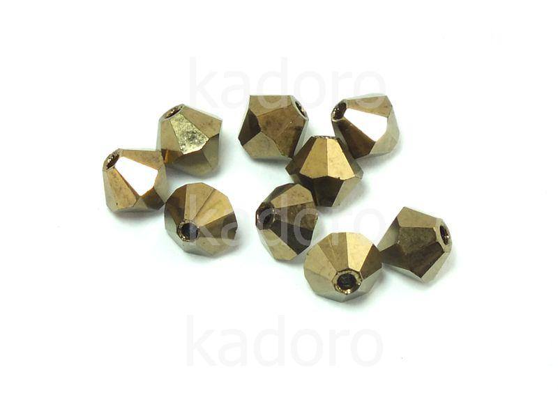 Bicone 4mm Gold Bronze - 6 sztuk