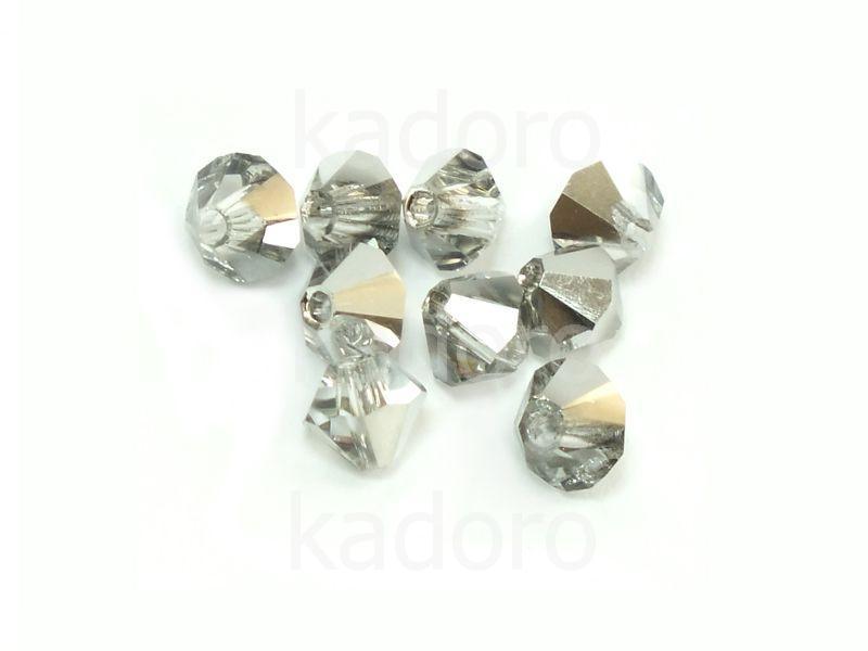 Bicone 4mm Silver 1/2 - 6 sztuk
