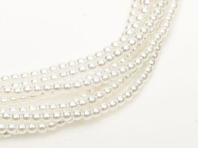 Perełki szklane białe 3 mm - sznur