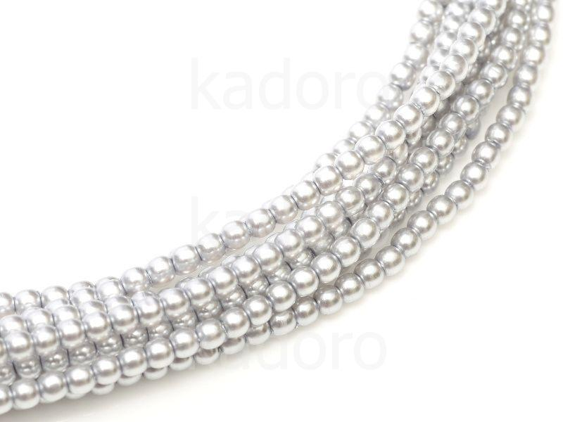 Perełki szklane srebrne 2 mm - sznur