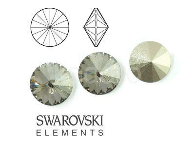 Rivoli Swarovski 12 mm Crystal Silver Shade F - 1 sztuka