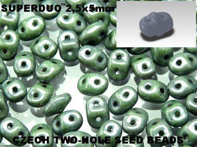 SuperDuo 2.5x5mm Luster - Metallic Green - 100 g