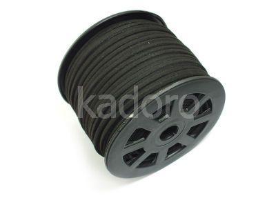 Rzemień czarny zamsz ekologiczny 3 mm - 1 m