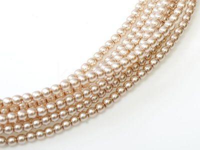 Perełki szklane różowo-beżowe 2 mm - sznur