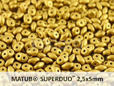 SuperDuo 2.5x5mm Matte Metallic Aztec Gold - 100 g