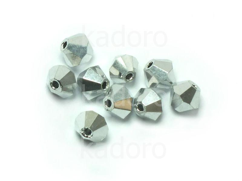 Bicone 4mm Silver - 100 sztuk