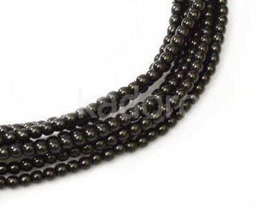 Perełki szklane czarne 2 mm - sznur