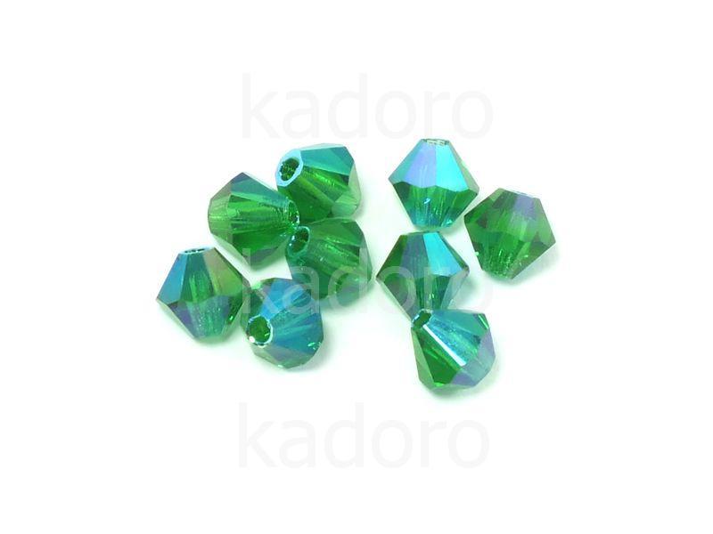 Bicone 4mm Green Emerald ABx2 - 6 sztuk