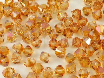 Bicone 4mm Crystal Apricot Medium - 6 sztuk