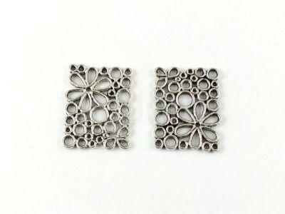 Ażur prostokąt 23x18 mm kolor srebrny - 2 sztuki