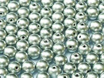 Round Beads Matte Metallic Aluminium 6 mm - 20 sztuk