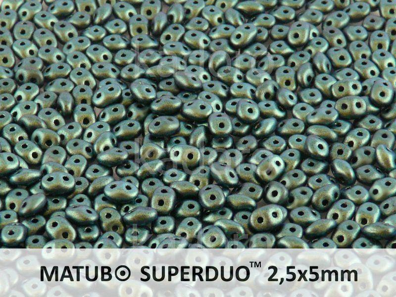 SuperDuo 2.5x5mm Polychrome - Aqua Teal - 10 g