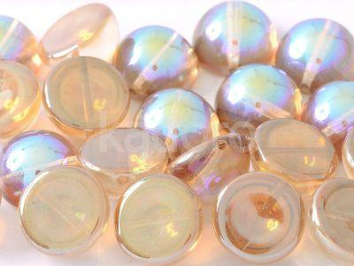 Dome Bead Crystal Brown Rainbow 12x7mm - 1 sztuka