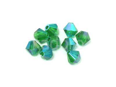 Bicone 4mm Green Emerald ABx2 - 100 sztuk