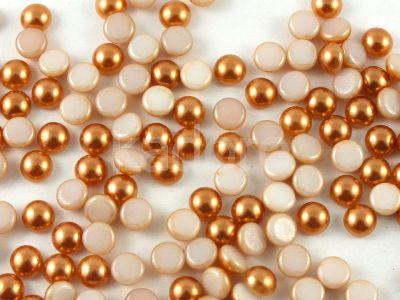 Szklany kaboszon Alabaster Coated Light Copper Pearl koło 4mm - 4 sztuki