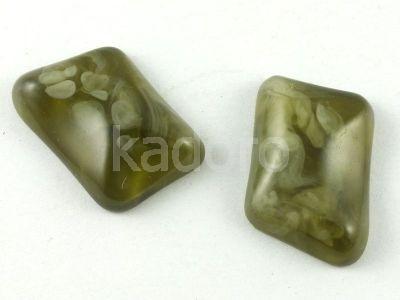 Kaboszon akrylowy oliwkowy 23x16 mm - 1 sztuka
