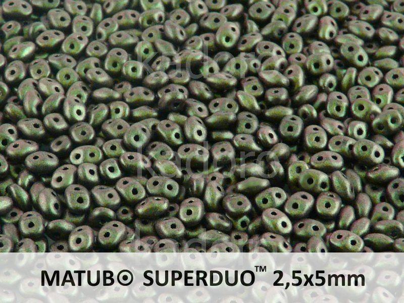 SuperDuo 2.5x5mm Polychrome - Olive Mauve - 10 g