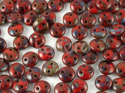 Lentil 6mm Opaque Red Picasso - 20 sztuk