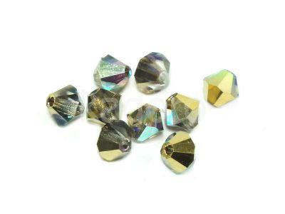 Bicone 4mm Crystal Golden Rainbow - 6 sztuk