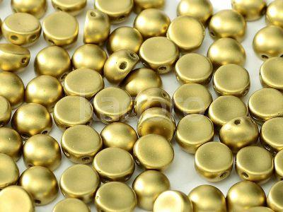 2-hole Cabochon Satin Metallic Olive Gold 6mm - 2 sztuki