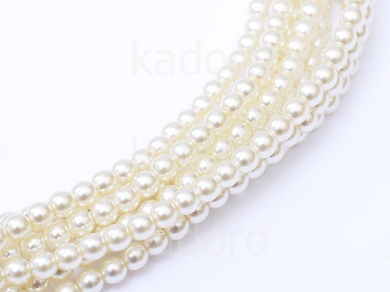 Perełki szklane perłowe 3 mm - 8 sznurów
