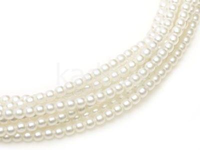Perełki szklane białe satynowe 2 mm - sznur