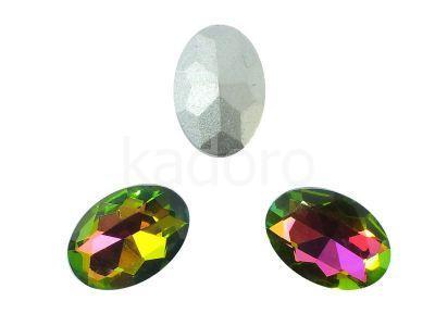 Szklany kamień fasetowany owal 14x10mm Crystal Vitrail Medium F - 2 sztuki