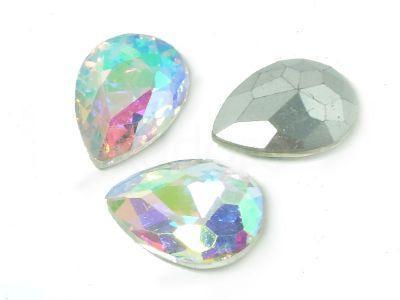 Szklany kamień fasetowany gruszka 18x13mm Crystal AB F - 1 sztuka