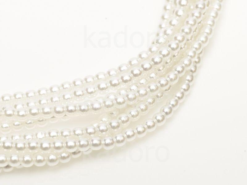 Perełki szklane białe 3 mm - 8 sznurów