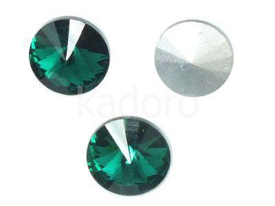 Szklane Rivoli 10 mm Emerald F - 4 sztuki