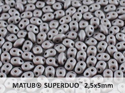 SuperDuo 2.5x5mm Satin Metallic Steel - 10 g