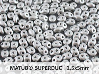 SuperDuo 2.5x5mm Satin Metallic Silver - 10 g